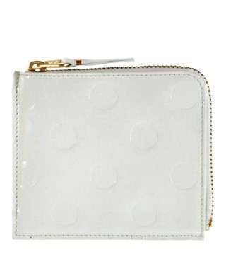 Embossed Polka Dot Wallet - Side Zip,  White (SA-3100NE)    by Comme des Garcons Leather