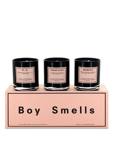 Trio Votive Set: St. Al, Cedar Stack, Redwood Scented Candles  by Boy Smells
