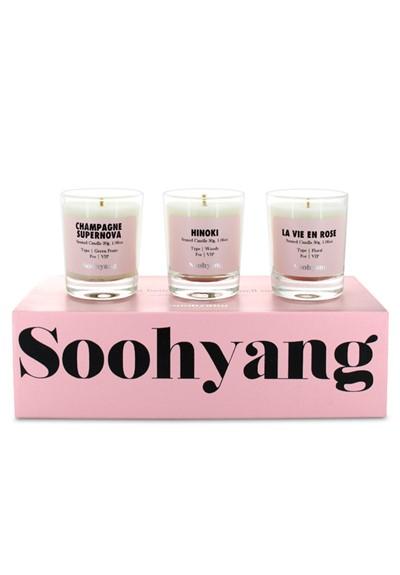 Trio Votive Set: Champagne Supernova, La Vie En Rose, Hinoki Scented Candle  by Soohyang